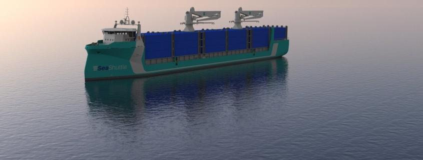 Samskip planlegger minst 20 prosent utslippsfri seilas med hydrogen, brenselcelle og batterier i sitt Seashuttle-prosjekt. (Illustrasjon: Samship/Kongsberg Maritime)